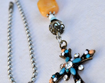 Turquoise and Peach Cross Ceiling Fan Pull