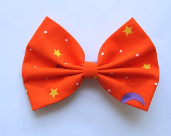 SALE - Piper Hair Bow - Orange Bow with Moon, Dots, and Stars Pattern Hair Bow with Clip