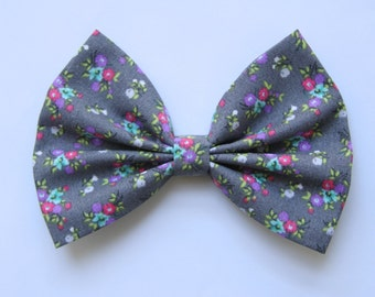 Tiffany Hair Bow - Gray & Colorful Floral Pattern Hair Bow with Clip - Gifts for Girls, Teens, Women