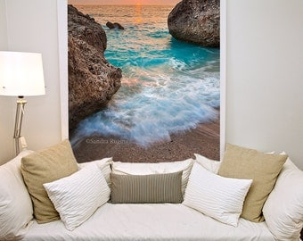 Nautical decor sea sunset landscape, large photo print of a sunset over sea, foamy water, boulders, paradise island, Greece, vertical photo