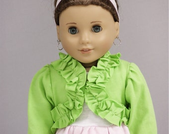 "American Doll Clothes Girl 18"" Outfit - White Tank with Pink Ruffle, Lime Green Trimmed Shrug, and Print Skirt"