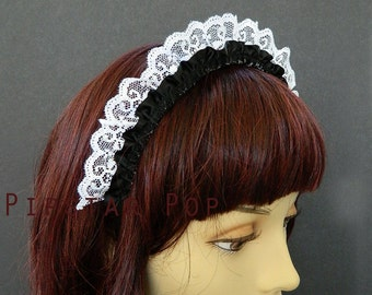 Black and White French Maid Ruffled Lace Headband - Inspired by Elegant Gothic Lolita Style  - Neo Classical design headband