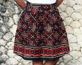 Black Ikat Print Skirt / Ethnic Skirt / Black and Red Skirt with Pockets