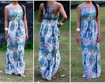 Summer Long Dress, Women's Maxi Dress, Peacock and flower dress, kaleidoscope print dress, Sun dress