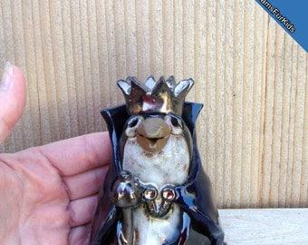 Penguin King, Stoneware Penguin, Handmade Penguin, Clay Penguin