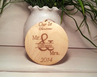 Our first christmas wooden Rustic Christmas Ornament Personalized