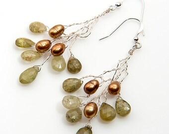 Gold and Green Garnet Dangle Earrings, Green Garnet Twig Earrings, Green Bridal Dangle Earrings, Winter Jewelry,