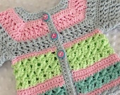 Crochet Baby Sweater, 0-3 Month Baby Sweater, Pastel Baby Sweater, Accessories, Baby Clothing, Baby Girl Sweater, Baby Girl