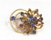 Flower Brooch, Rhinestone Jewelry, Vintage Pin,Wedding Jewelry, Gold-Filled, Retro