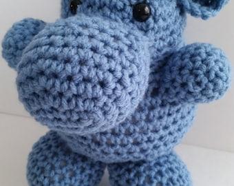 HIPPO, MADE to ORDER Crochet stuffed animal soft blue