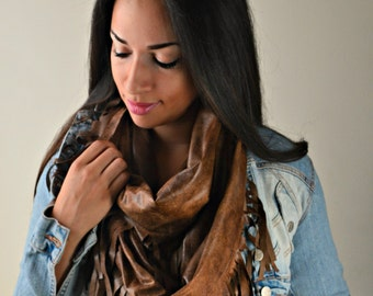 Faux Micro Suede Fringe Lace infinity Scarf, boho infinity