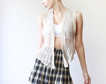 Nude beige sequin embroidered sheer knit vest top