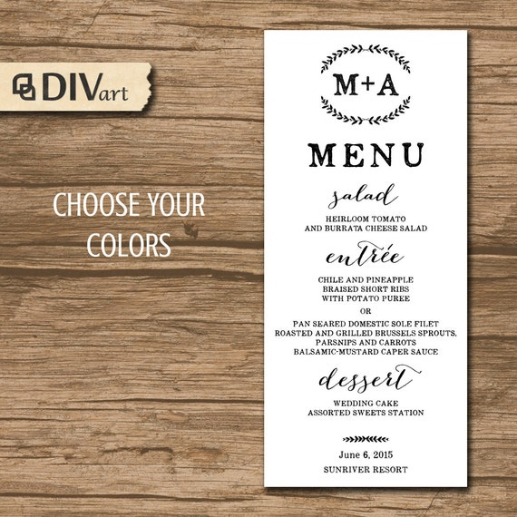 Nautical Wedding Menu Rehearsal Dinner Menu Reception Menu: PRINTABLE Wedding Menu Rehearsal Dinner Menu Reception By