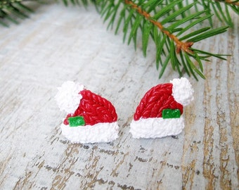 Santa's hat Stud Earrings Merry Christmas gift Christmas Earrings Christmas Jewelry