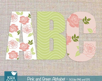 Digital Alphabet Pink and Green - Digital Clipart / Scrapbooking colorful - card design, invitations, web design - INSTANT DOWNLOAD