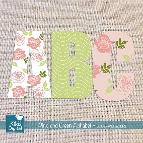 Digital Alphabet Pink and Green - Digital Clipart / Scrapbooking colorful - card design, invitations, web design - INSTANT DOWNLOAD