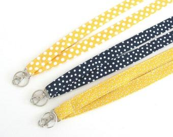 Fabric Lanyard ID Badge Holder, Keys Lanyard / Teacher Lanyard Preschool Polka Dot Yellow or Navy Badge Lanyard