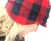 Buffalo Plaid Winter Beanie Hat - Women's Winter Fleece Hat - Winter Fleece Hat - Beanie Ear Flap Fleece Hat - Outdoor Woman