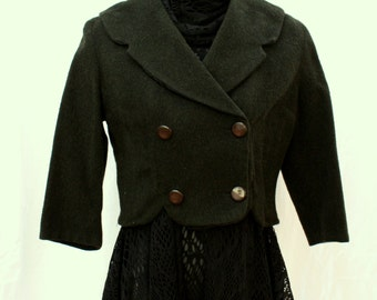 Deep Green Wool Cropped Jacket / Coat, vintage 1940s, size small