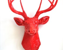 RED Faux Taxidermy Deer Head wall mount wall hanging home, office or kids room decor:  Deerman in all glossy red