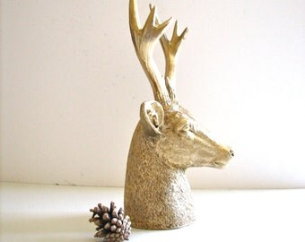 Faux Stag Deer Head Bust animal statue in gold for tabletop home decor nursery decor gift for him or her office decor gold deer head