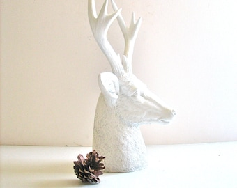 Faux Stag Deer Head Bust animal statue in crisp white for tabletop home decor nursery decor gift for him or her office decor gold deer head