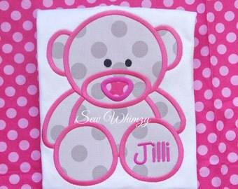 Teddy Bear shirt- Teddy bear dress- Teddy bear birthday- Girl's pink Bear Applique Shirt- Personalized Bear Shirt- Monogram shirt- Custom