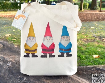 Garden Gnomes Tote Bag, Ethically Produced Reusable Shopper Bag, Cotton Tote, Shopping Bag, Eco Tote Bag