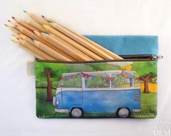 Campervan Linen Zipper Pencil Pouch / Makeup Bag / Pencil Case
