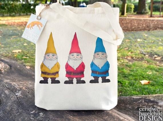 Garden Gnomes Tote Bag, Ethically Produced Reusable Shopper Bag, Cotton Tote, Shopping Bag, Eco Tote Bag