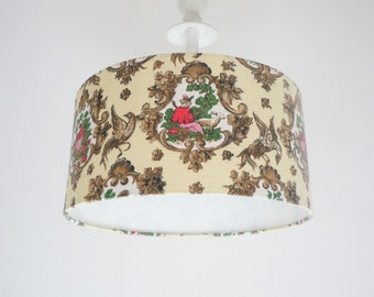 Lampshade Vintage French Material Lamp Shade covered with French Retro Fabric Farmer Animals Ceiling Pendant Light Ceiling Lampshade