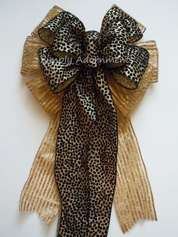 Holiday Animal Print Bow Gold Black Cheetah Print Christmas Tree Bow Christmas Animal Print Topper Bow Winter Holidays Cheetah Tree Bow