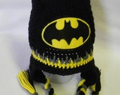 Batman Inspired Crochet Hat - Made To Order