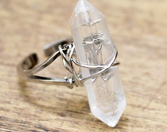 Hand Wrapped Crystal and silver ring Moon crystal