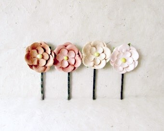 Blush Flower Hair Clips. Paper Flower Bobby Pins in Chocolate, Strawberry, Cream + Petal Pink. Daisy Hair Accessories. Rustic Wedding Hair