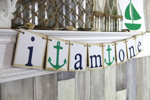Nautical First Birthday Banner, I am one Banner, First birthday photo prop
