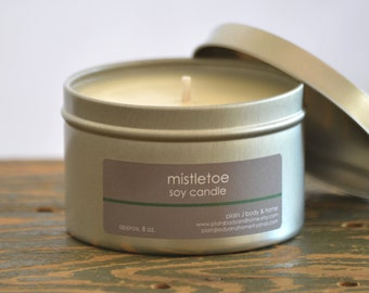 SALE - Mistletoe Soy Candle Tin 8 oz. - pine scent candle - berry scent candle - holiday candle - fall candle - winter candle