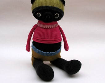 SALE  -  Black Woollen Pug - Handmade plush sculpture wearing bright pink pullover and felt shorts.