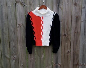 Vintage Handmade Red White Black S M Small Medium Hipster Indie Classic Winter Warm Sweater