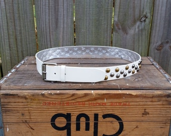 Vintage 90s Faux White Gold Silver Tone Studded Guess Label Large Glam Belt