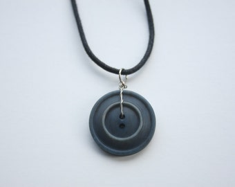 Denim Blue Vintage Button Pendant