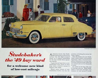 2 Studebaker, Vintage, Full Page Advertising, One 1949 Color, One 1936 Black and White, Lovely Condition