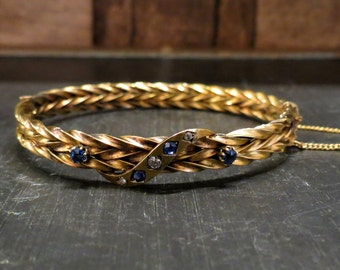 Victorian Sapphire and Diamond Braided Bracelet 15k c. 1870