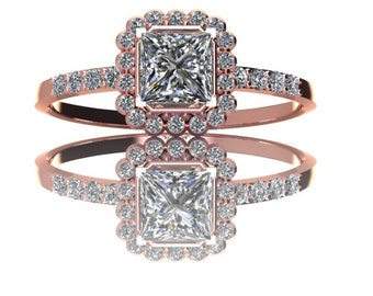 14K Gold  Half Carat PrincessCut Diamond Engagement Ring with Halo