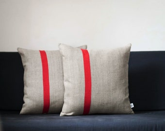 Set of 2 Decorative pillow covers - Color block red line linen  pillows, Natural linen pillow covers in custom size  pillows 0195