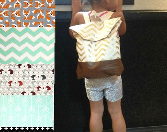 CHOOSE your Fabric Toddler Backpack Pink and Gold Chevron