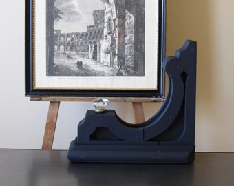 Vintage black wooden corbel,  architectural salvage, cottage chic, country decor
