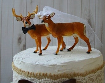 deer wedding hunting cake topper buck doe groom bride hunter animal groom's cake fall woodland deer hunter camouflage themed centerpiece