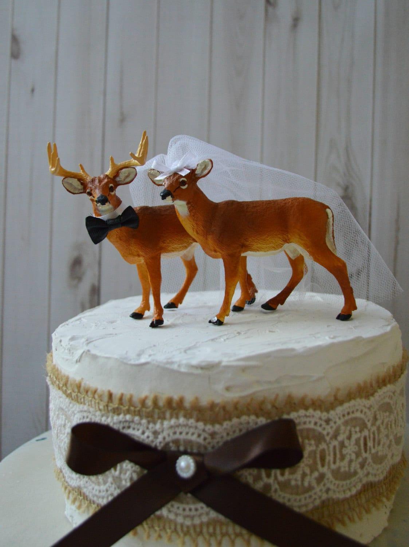deer wedding hunting cake topper buck doe groom bride hunter