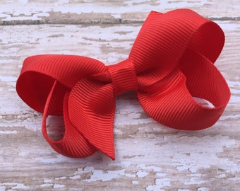 3 inch Poppy red hair bow - poppy red bow, 3 inch hair bow, boutique bow, red bow, toddler bow, girls hair bow, baby bow
